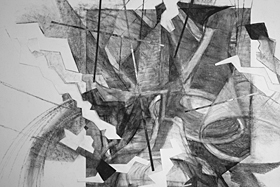Stroke Unit - Lamps - detail 5 (2009), charcoal on paper